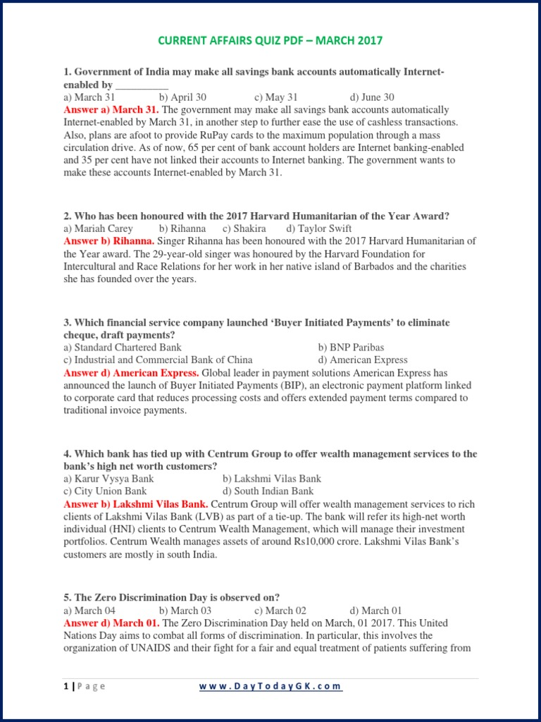Current Affairs Quiz Pdf - March 2017 pdf | Shooting | Sports