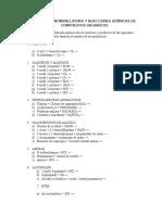 Ejercicios Nomenclatura (Reacciones Químicas)
