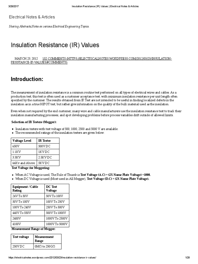 Insulation resistance ir values electrical notes articles insulation resistance ir values electrical notes articles transformer insulator electricity greentooth Image collections