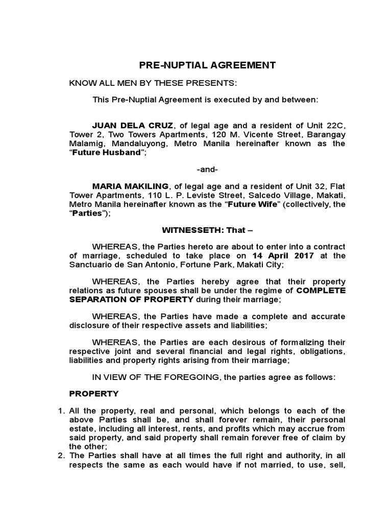 Sample Pre-Nuptial Agreement Philippines | Indemnity | Private Law