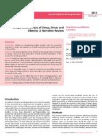 Sleep Disturbances of Sleep Stress and Obesity a Narrative Review