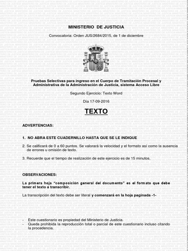 Examen Word 2010 Tramitación Procesal 2015 Archivo De Computadora Grupo De Computadoras