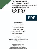 The Middle-Length Saying (Majjhima Nikaya), Vol. I