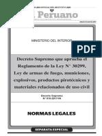 Decreto Supremo que aprueba el Reglamento de la Ley N° 30299 Ley de armas de fuego municiones explosivos productos pirotécnicos y materiales relacionados de uso civil
