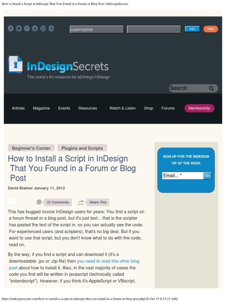 How to Install a Script in InDesign That You Found in a Forum