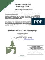 Dallas FASD Support Group Flier