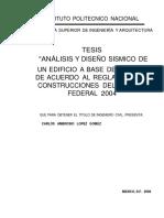 Analisis y Diseno Sismico de Edificio a Base de Marcos de Acuerdo Al Reglamento de Construcciones Del Distrito Federal 2004
