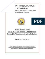 Doc 702B B.P.S. VII S.a. I II Maths Chapterwise 5 Printable Worksheets With Solution 2014 15