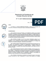 Resolución N°111-2017-SINEACE-CDAH-P
