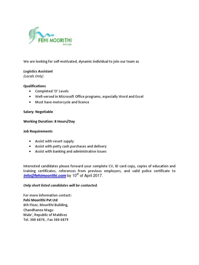 Job Advertisement Fehimoorithi Logistic Assistant 03.04.2017