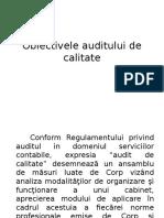 Obiectivele Auditului de Calitate