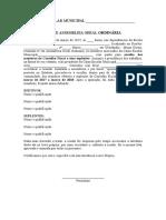 A Modelo Assembleia Ordinária Conselho Fiscal Março