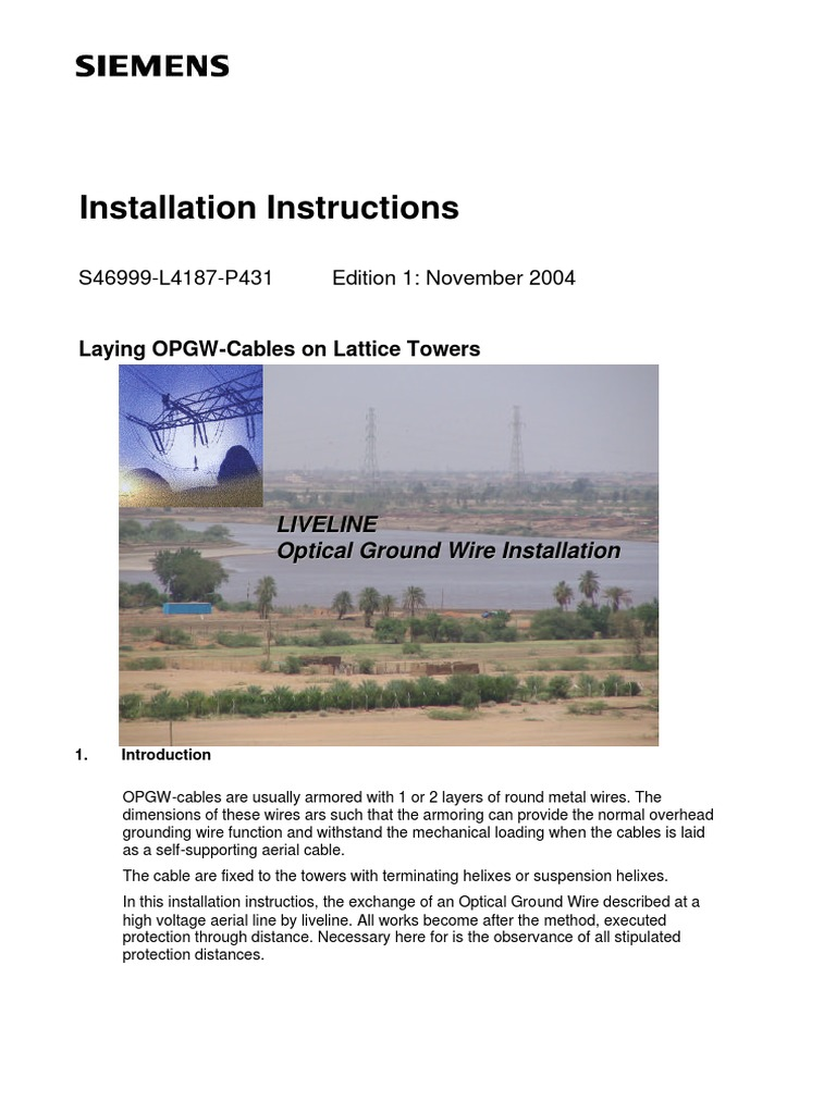 00 Siemens Manual de Montaje de Opgw | Manufactured Goods ...