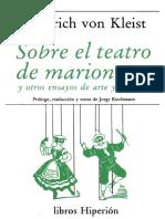 Heinrich von Kleist (Sobre el teatro de marionetas_ y otros ensayos de arte y filosofía-Ediciones Hiperión (1988)