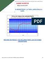 Abril Empezó Con Brotes Verdes y Precios Récord en Los Títulos Argentinos. Hubo Gran Aumento en La Venta de Autos, Motos e Inmuebles