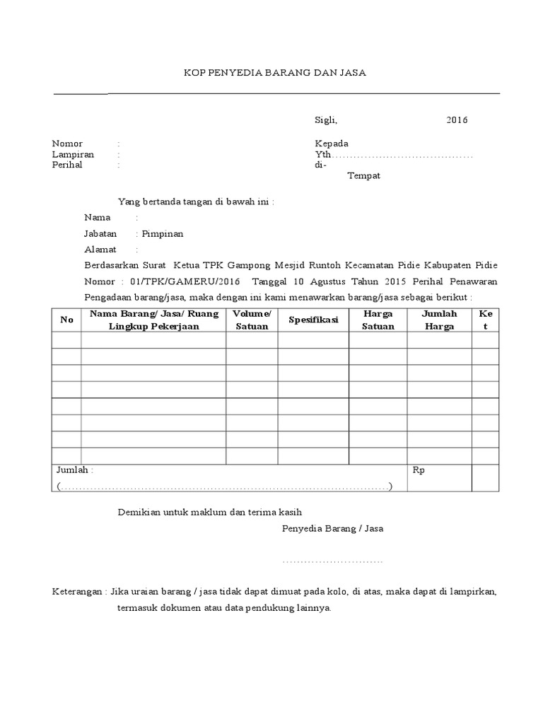 1 Contoh Surat Penawaran Penyedian Barang