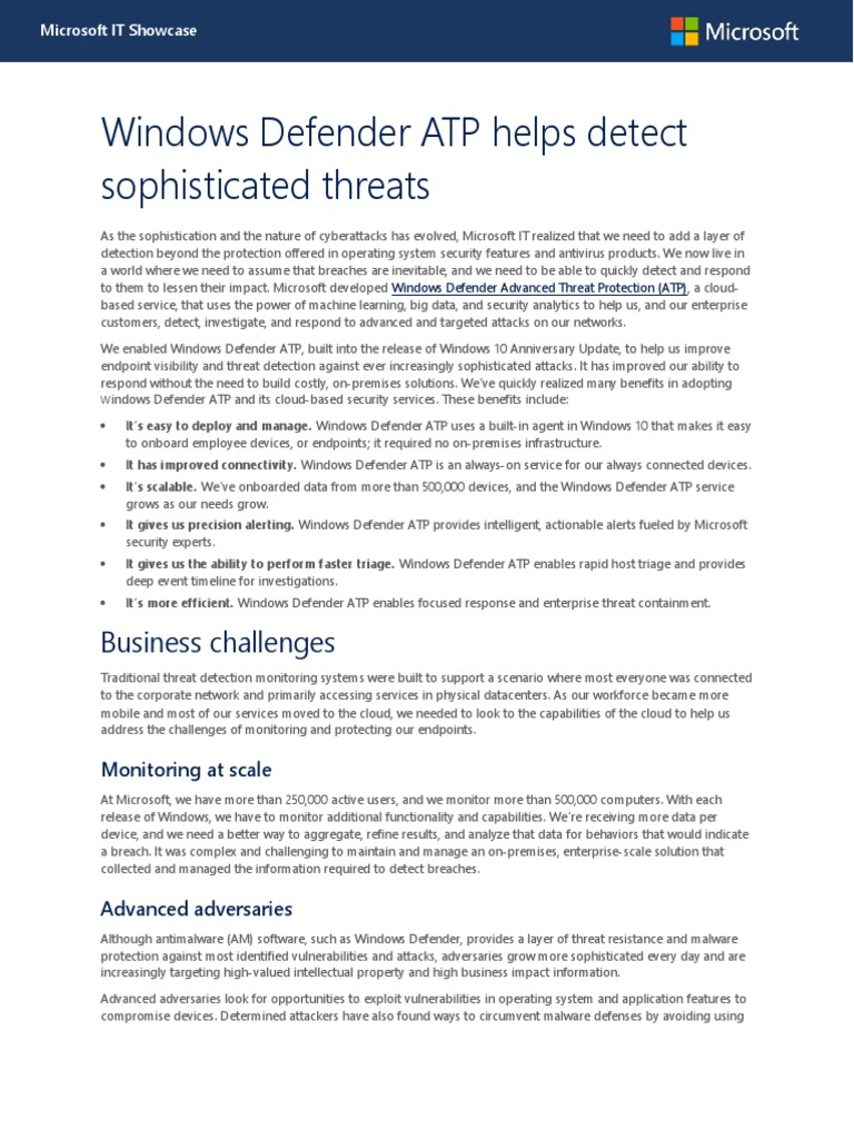 Windows Defender ATP Helps Detect Sophisticated Threats TCS