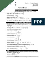 heat and mass  formula sheet