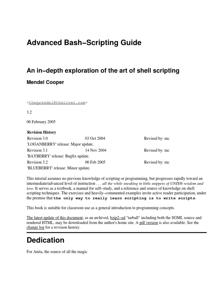 Advanced Bash-Scripting Guide.pdf | Command Line Interface | Scripting  Language