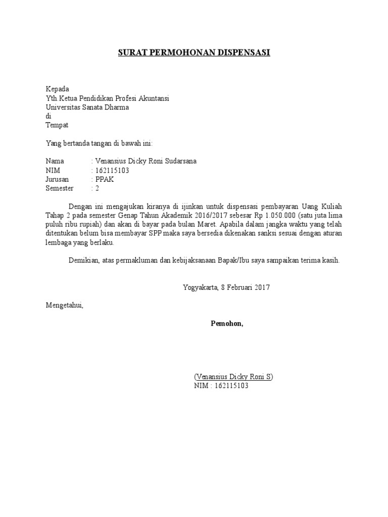 Contoh Surat Dispensasi Kerja Untuk Kuliah Suratmenyuratnet