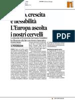 Lavoro, crescita e flessibilità:l'Europa ascolta i nostri cervelli - Il Corriere Adriatico del 2 aprile 2017