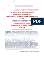 Invite to Hanging of Wm H. Jackson Streetsign