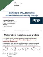 Predavanje 2 Matematički Model Mernog Uređaja