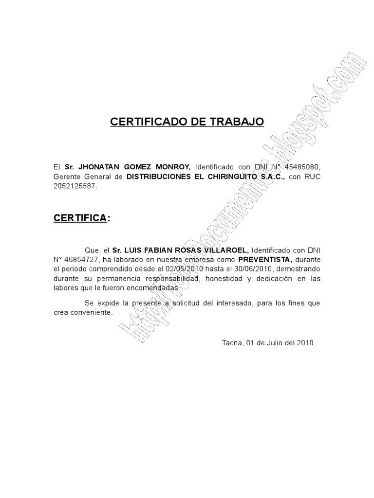 Modelo De Certificado De Trabajo Tododocumentos Info