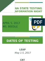 ela 3rd grade state testing night 2016-2017