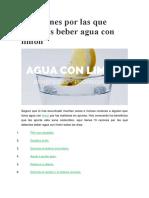 13 Razones Por Las Que Deberías Beber Agua Con Limón