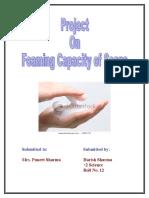 Foaming Capacity of Soap