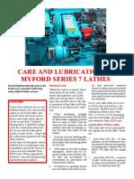 Myford ML7 Lubrication Chart