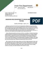 Reservoir FD Hydrant Testing Press Release - 2017