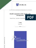 Parallel Computation of the Singular Value Decomposition