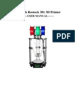Geeetech Rostock 301 3D Printer - Manual Do Usuario