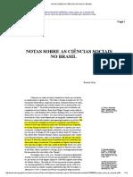 Notas Sobre as Ciências Sociais No Brasil