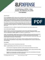 Law of Self Defense LEVEL 1 CLE TX Syllabus 180224 v170404 PDF
