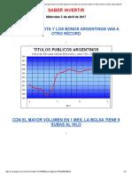 La Fiesta Financiera Sigue_ s%p Mejora Nota y Los Bonos Ganan Otro Escalón, Las Acciones Suben Con Alto Volumen, El Dólar Sigue Bajando