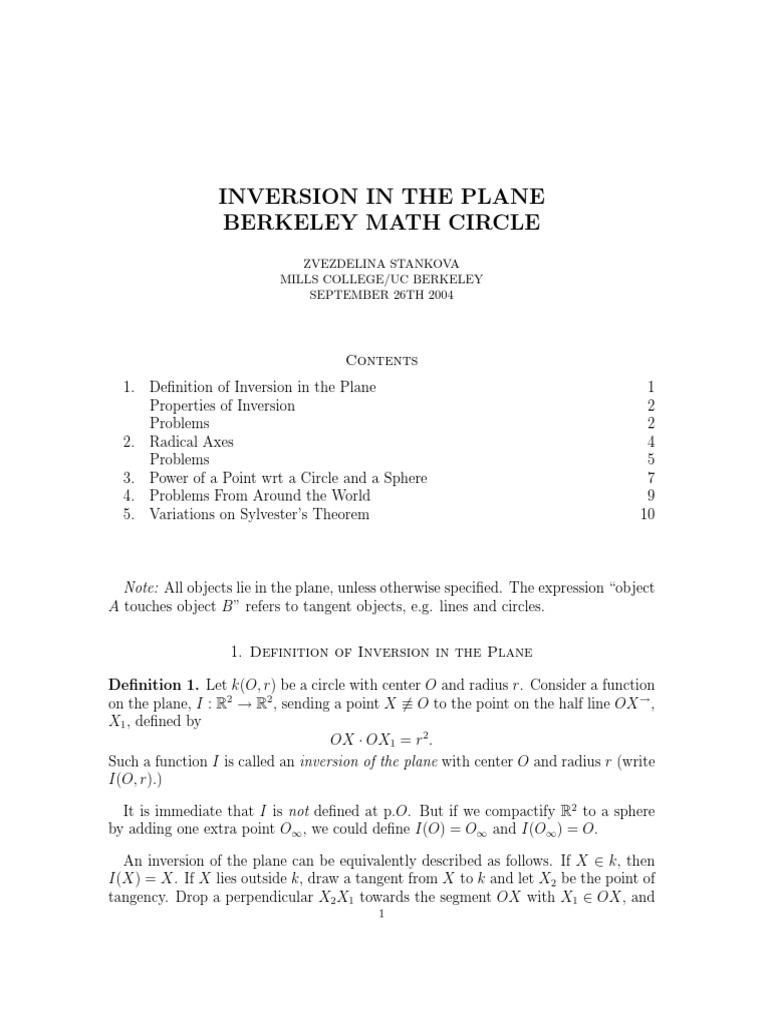 Inversion in the Plane - Zvezdelina Stankova 2004 pdf | Circle