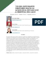Actitud Del Estudiante Universitario Hacia La Investigacion en El Núcleo Luz - Costa Oriental Del Lago