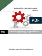 Evolucion de La Productividad en España en Los Ultimos Años (u)