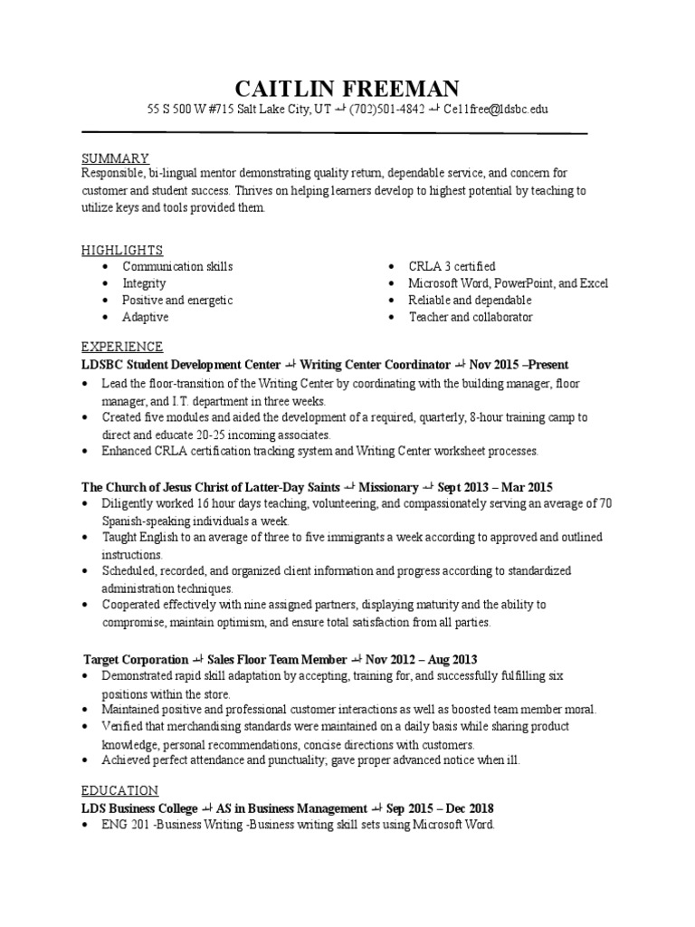 Caitlin Freeman Resume Revised Professional Certification Learning