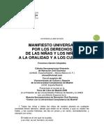 1. Manifiesto Universal Por Los Derechos de Niñas y Niños a La Oralidad y Los Cuentos. f. Garzón Céspedes, 2009