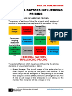 External Factors Influencing Pricing
