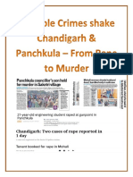 Multiple Crimes shake Chandigarh & Panchkula – From Rape to Murder