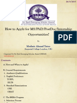 How To Apply For Ms/Phd/Postdoc/Internship Opportunities