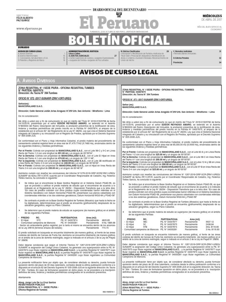Diario Oficial El Peruano, Edición 9656. 05 de abril de 2017