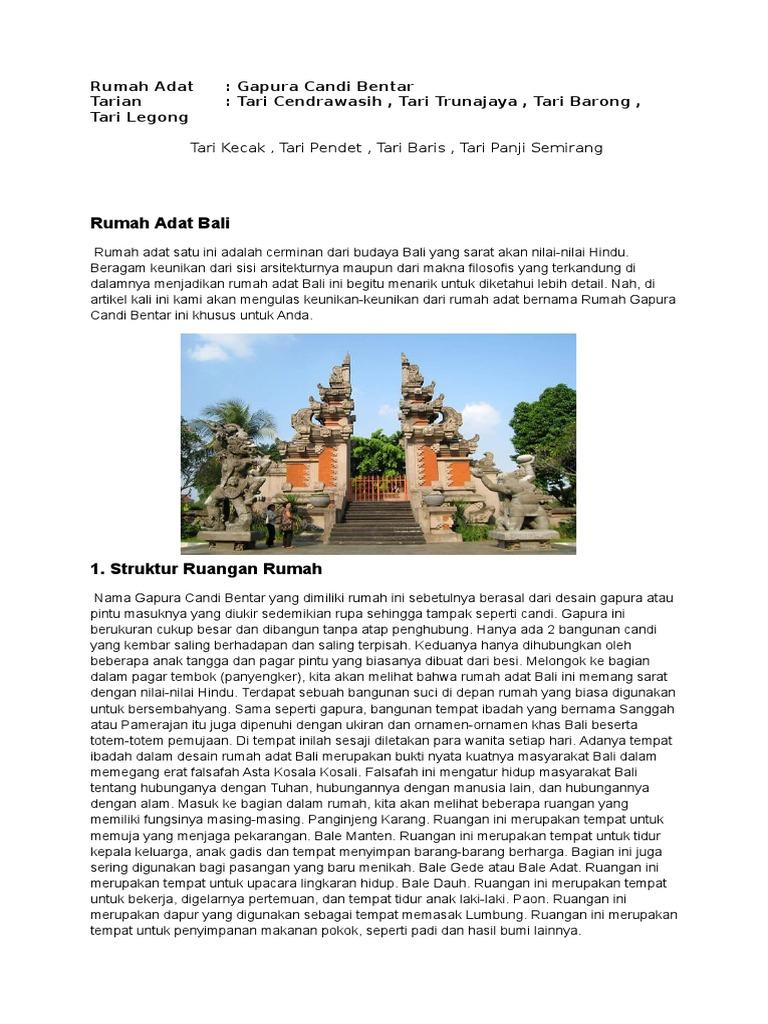 Rumah Adat Gapura Candi Bentar Berasal Dari Daerah Rumah Adat Bali Gapura Aneka Rupa Rumah