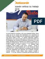 Toño Astiazarán enfoca su trabajo rumbo al 2018