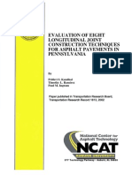 Evaluation of Eight Longitudinal Joint Construction Techniques for Asphalt Pavements in Pennsylvania
